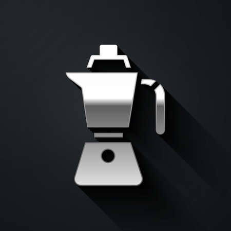 Silver Coffee maker moca pot icon isolated on black background. Long shadow style. Vector Ilustracja
