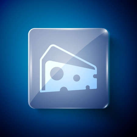 White Cheese icon isolated on blue background. Square glass panels. Vector