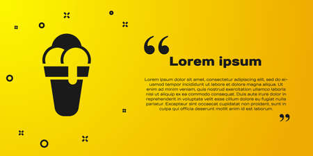 Black Ice cream in waffle cone icon isolated on yellow background. Sweet symbol. Vector