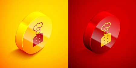 Isometric Italian cook icon isolated on orange and red background. Circle button. Vector