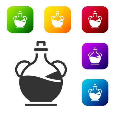 Black Bottle of olive oil icon isolated on white background. Jug with olive oil icon. Set icons in color square buttons. Vector