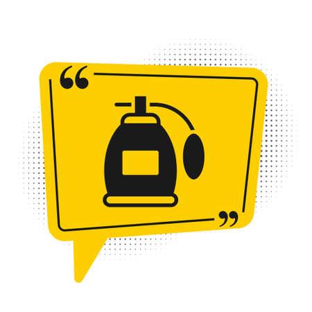 Black Perfume icon isolated on white background. Yellow speech bubble symbol. Vector