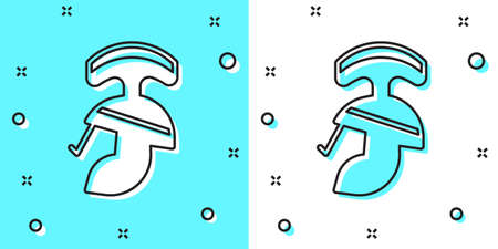 Black line Roman army helmet icon isolated on green and white background. Random dynamic shapes. Vector Ilustracja