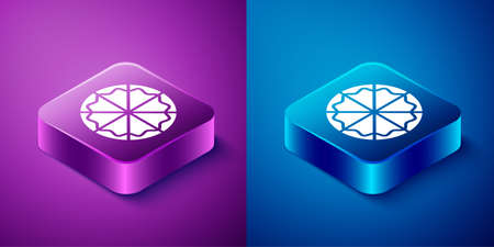 Isometric Pizza icon isolated on blue and purple background. Fast food menu. Square button. Vector