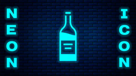 Glowing neon Bottle of wine icon isolated on brick wall background. Vector