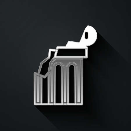 Silver Broken ancient column icon isolated on black background. Long shadow style. Vector