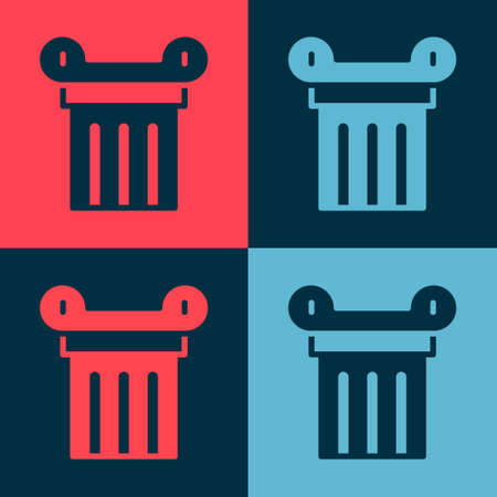 Pop art Ancient column icon isolated on color background. Vector