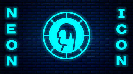 Glowing neon Ancient Greek coin icon isolated on brick wall background. Vector