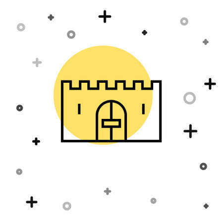 Black line Medieval castle gate in a stone wall icon isolated on white background. Medieval fortress. Protection from enemies. Random dynamic shapes. Vector