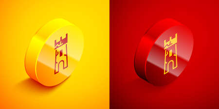 Isometric Castle tower icon isolated on orange and red background. Fortress sign. Circle button. Vector
