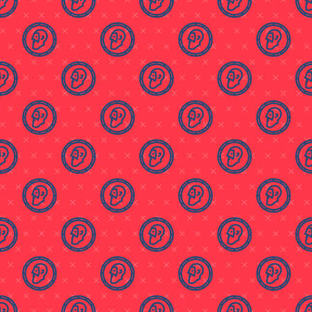 Blue line Ancient coin icon isolated seamless pattern on red background. Vector