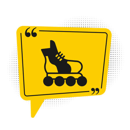 Black Roller skate icon isolated on white background. Yellow speech bubble symbol. Vector