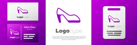 Logotype Woman shoe with high heel icon isolated on white background. Logo design template element. Vector