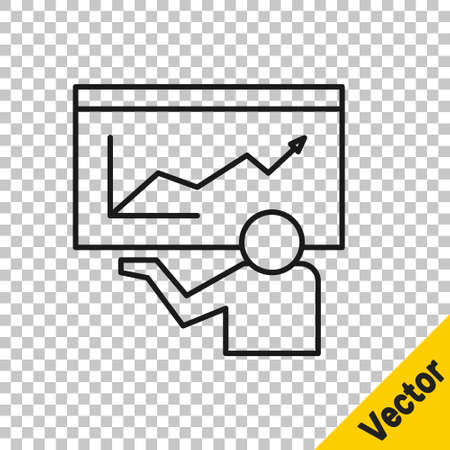Black line Training, presentation icon isolated on transparent background. Vector