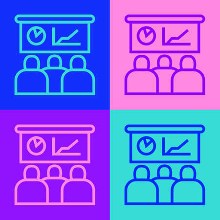 Pop art line Training, presentation icon isolated on color background. Vector Vectores
