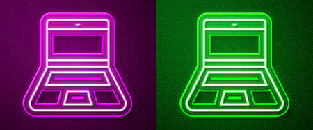 Glowing neon line Laptop icon isolated on purple and green background. Computer notebook with empty screen sign. Vector Illusztráció