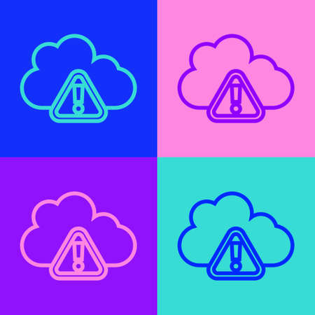 Pop art line Storm warning icon isolated on color background. Exclamation mark in triangle symbol. Weather icon of storm. Vector