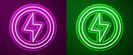 Glowing neon line Lightning bolt icon isolated on purple and green background. Flash sign. Charge flash icon. Thunder bolt. Lighting strike. Vector