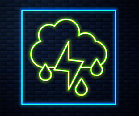 Glowing neon line Cloud with rain and lightning icon isolated on brick wall background. Rain cloud precipitation with rain drops.Weather icon of storm. Vector