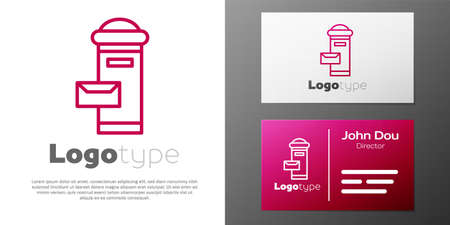 Logotype line Traditional London mail box icon isolated on white background. England mailbox icon. Mail postbox. Logo