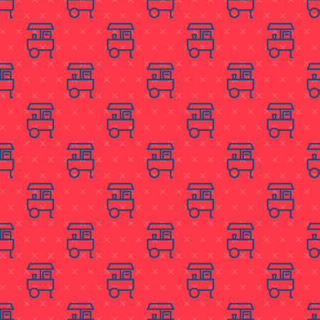 Blue line Fast street food cart icon isolated seamless pattern on red background. Urban kiosk. Vector Stock Illustratie