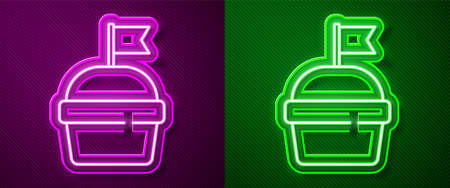 Glowing neon line Cake icon isolated on purple and green background. Happy Birthday. Vector
