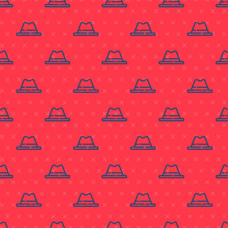 Blue line Man hat with ribbon icon isolated seamless pattern on red background. Vector Illustration
