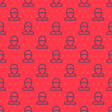 Blue line Vandal icon isolated seamless pattern on red background. Vector