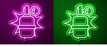 Glowing neon line Hand grenade icon isolated on purple and green background. Bomb explosion. Vector