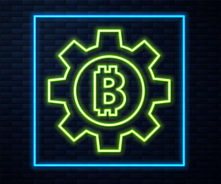 Glowing neon line Cryptocurrency coin Bitcoin icon isolated on brick wall background. Gear and Bitcoin setting. Blockchain based secure crypto currency. Vector