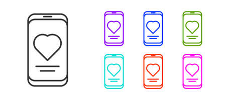 Black line Smartphone with heart rate monitor function icon isolated on white background. Set icons colorful. Vector