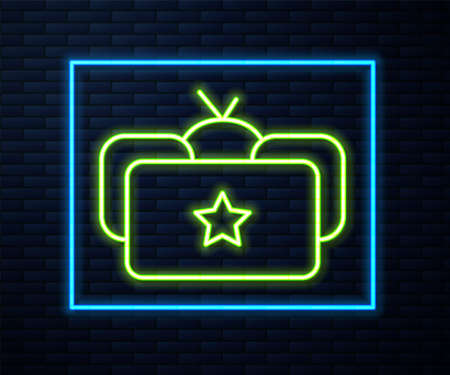 Glowing neon line Ushanka icon isolated on brick wall background. Russian fur winter hat ushanka with star. Soviet Union uniform of KGB and NKVD. Vector