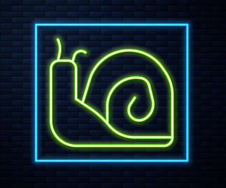 Glowing neon line Snail icon isolated on brick wall background. Vector