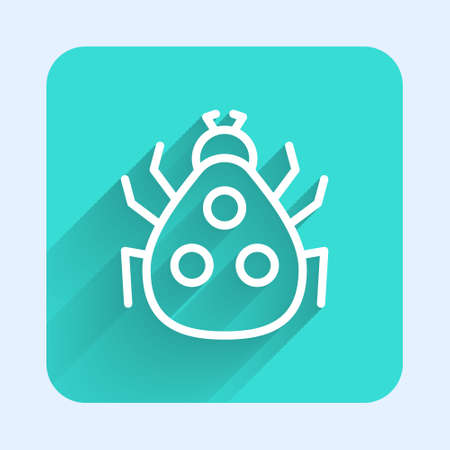 White line Ladybug icon isolated with long shadow. Green square button. Vector Ilustracja