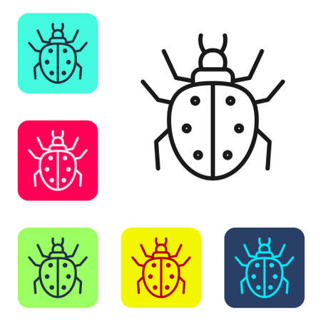 Black line Mite icon isolated on white background. Set icons in color square buttons. Vector