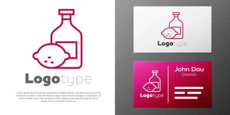 Logotype line lemon cocktail bottle icon isolated on white background. Bottle of fresh homemade lemonade. Ilustracja