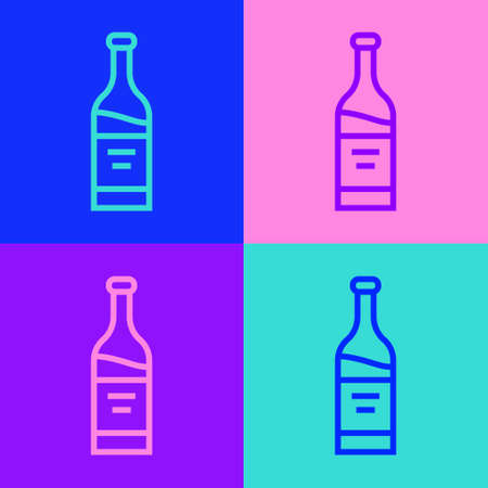 Pop art line Bottle of wine icon isolated on color background. Vector Vectores
