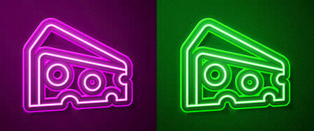 Glowing neon line Cheese icon isolated on purple and green background. Vector