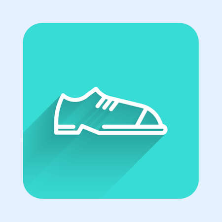 White line Men shoes icon isolated with long shadow. Green square button. Vector Ilustracja