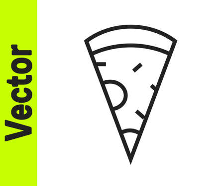Black line Slice of pizza icon isolated on white background. Fast food menu. Vector