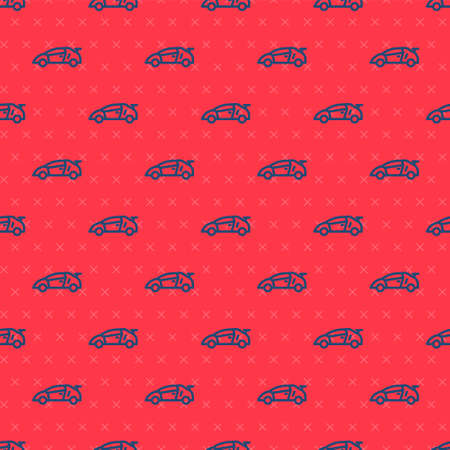 Blue line Sport racing car icon isolated seamless pattern on red background. Vector Ilustracja