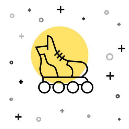 Black line Roller skate icon isolated on white background. Random dynamic shapes. Vector