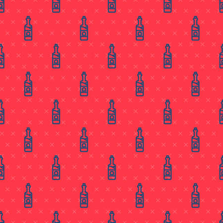 Blue line Bottle of wine icon isolated seamless pattern on red background. Vector