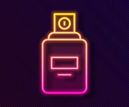 Glowing neon line Perfume icon isolated on black background. Vector