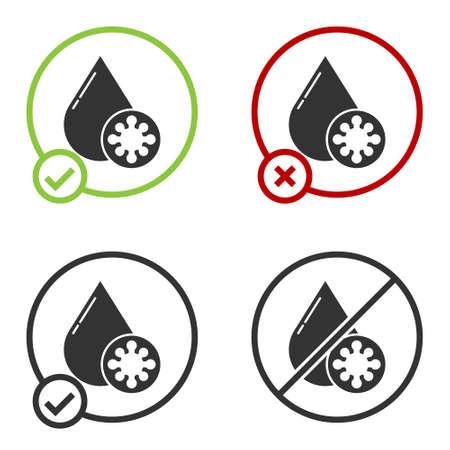 Black Blood test and virus molecule coronavirus icon isolated on white background. Coronavirus, COVID-19. 2019-nCoV. Circle button. Vector Illustration