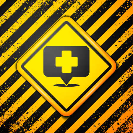 Black Medical map pointer with cross hospital icon isolated on yellow background. Warning sign. Vector Illustration
