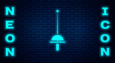 Glowing neon Fencing icon isolated on brick wall background. Sport equipment. Vector Illustration Illusztráció