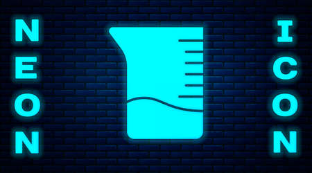Glowing neon Measuring cup icon isolated on brick wall background. Plastic graduated beaker with handle. Vector Illustration