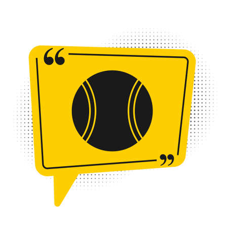 Black Tennis ball icon isolated on white background. Sport equipment. Yellow speech bubble symbol. Vector Illustration