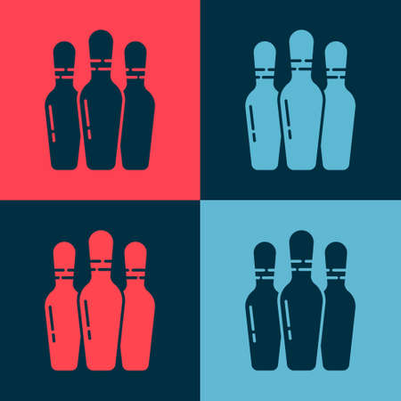 Pop art Bowling pin icon isolated on color background. Vector Illustration